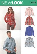 6232 New Look Pattern: Misses' and Men's Button Down Shirt